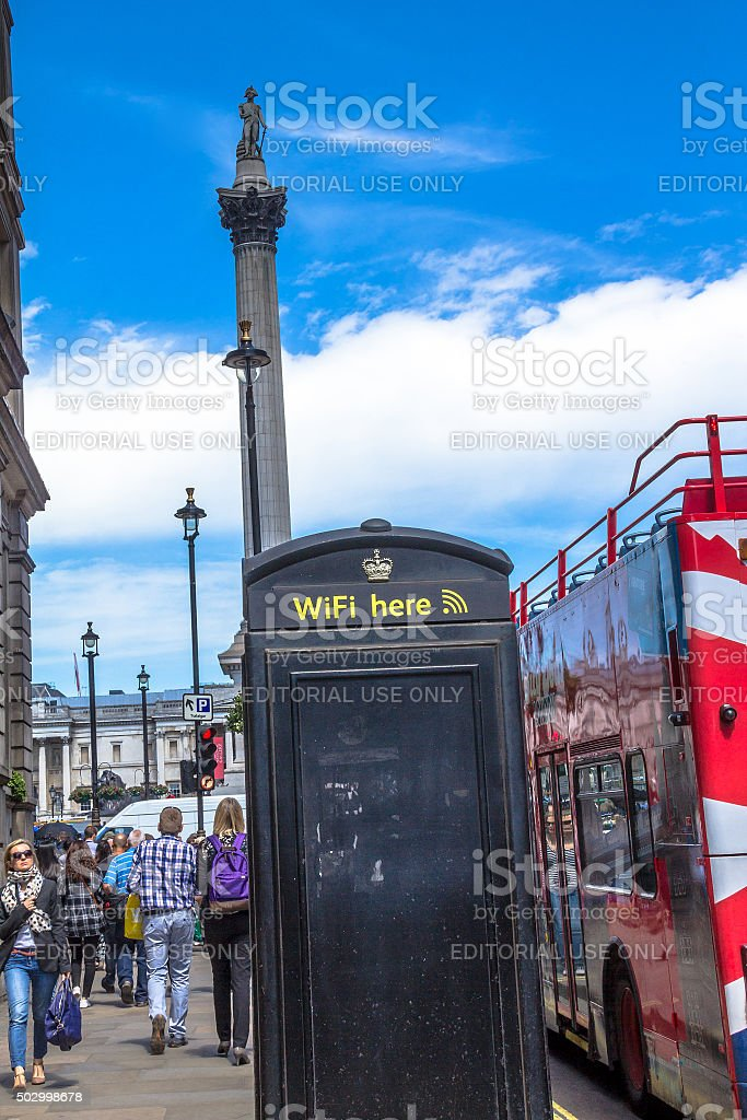 Nelson's column in Trafalgar Square, London stock photo