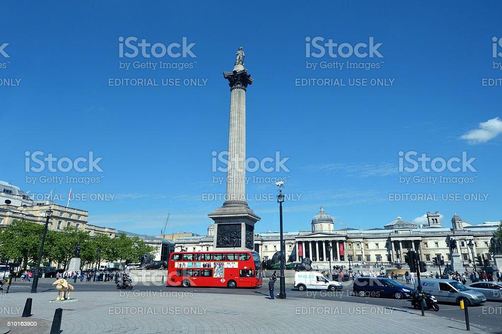 Nelson's Column in Trafalgar Square London stock photo