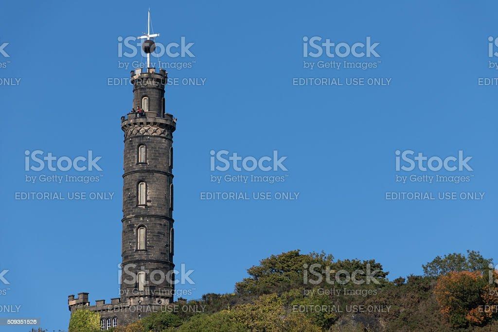 Nelsons Monument on Carlton Hill in Edinburgh Scotland stock photo