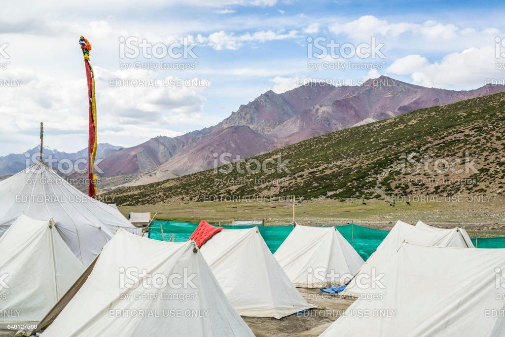 Nemaling campsite for hikers. Trekking in Markha valley (Ladakh) stock photo