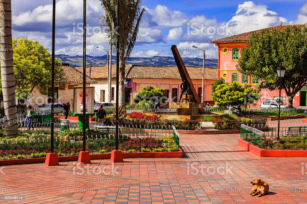 Nemocón, Colombia: Main town square and colonial architecture stock photo