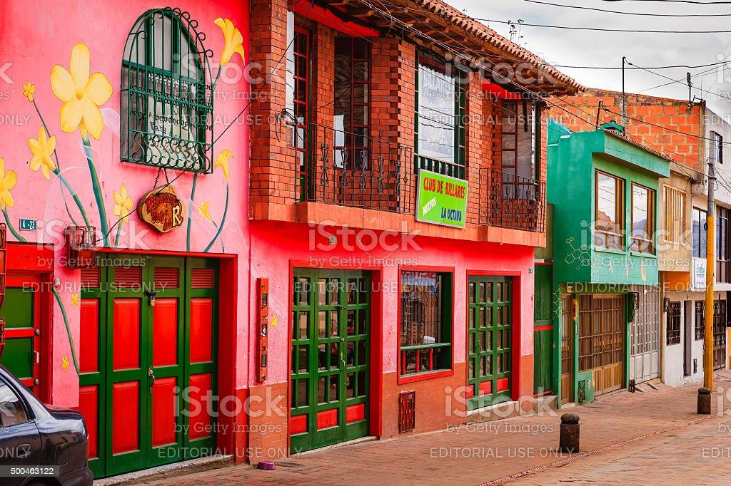 Nemocón, Colombia - vivid streetside colours of Latin America stock photo