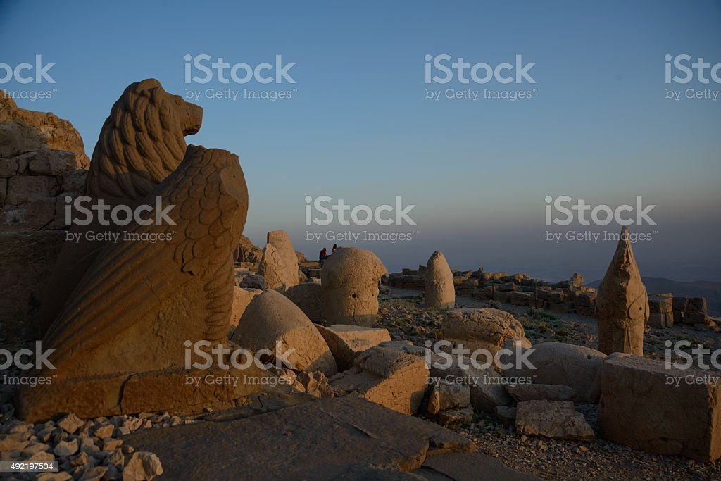 Nemrut statues in evening light stock photo