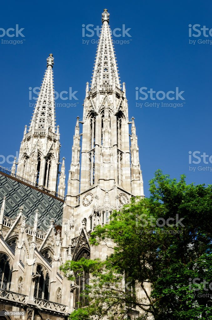 neo gothic Votivkirche (Votive Church) in Vienna stock photo