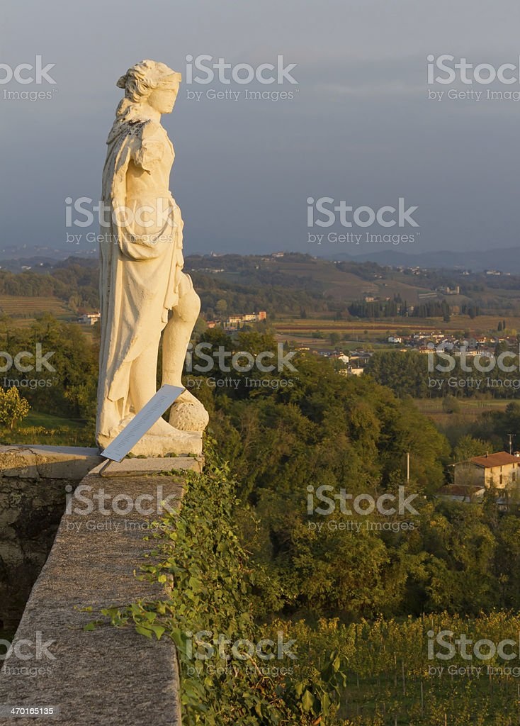 Neoclassic Statue on the Terrace of Rosazzo Abbey stock photo