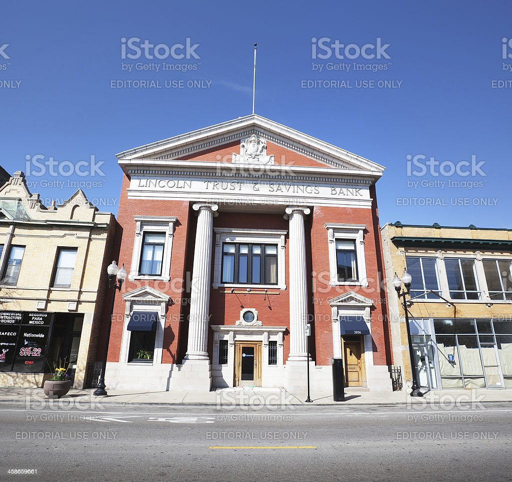 Neoclassical Bank Building in a Chicago Neighborhood stock photo