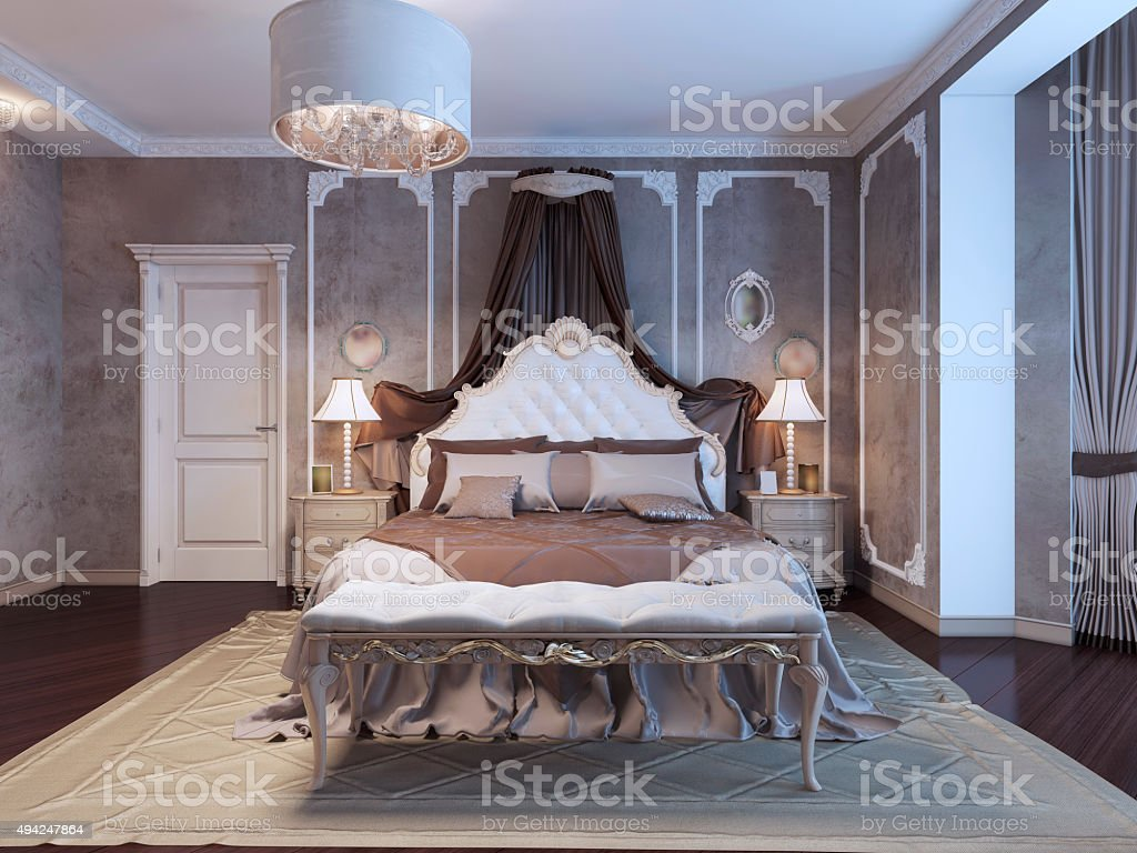 Neoclassical bedroom with frame molding on walls stock photo