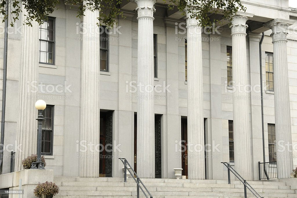 Neoclassical building front with fluted  columns and stairs. stock photo