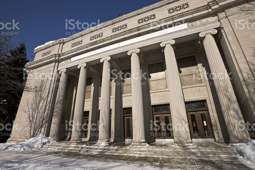 Neoclassical Church Facade in Chicago royalty-free stock photo