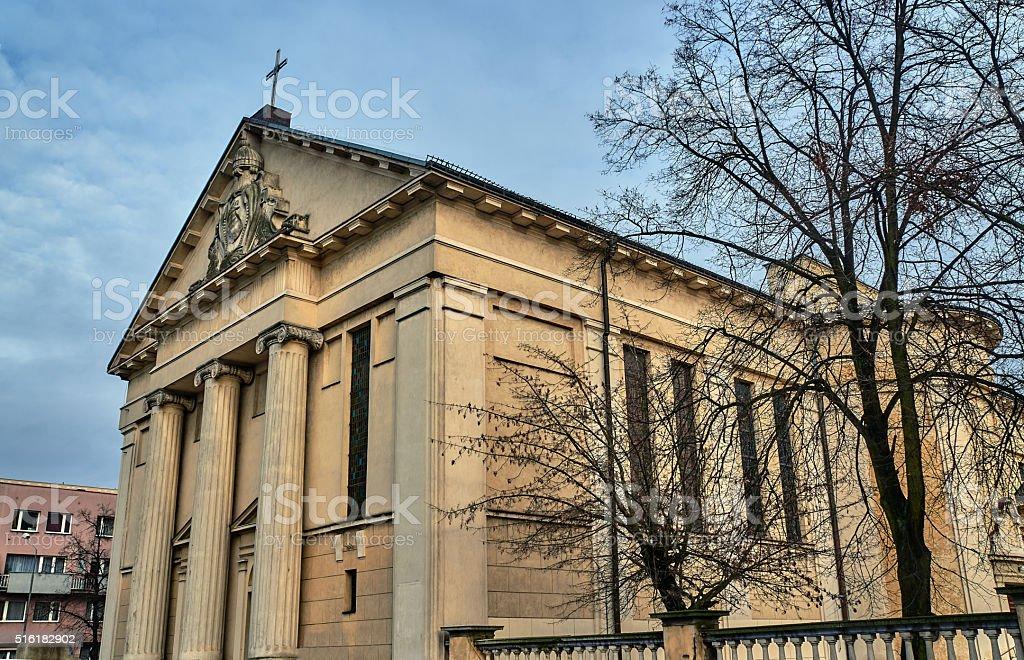 Neoclassical facade Catholic church in Poznan stock photo
