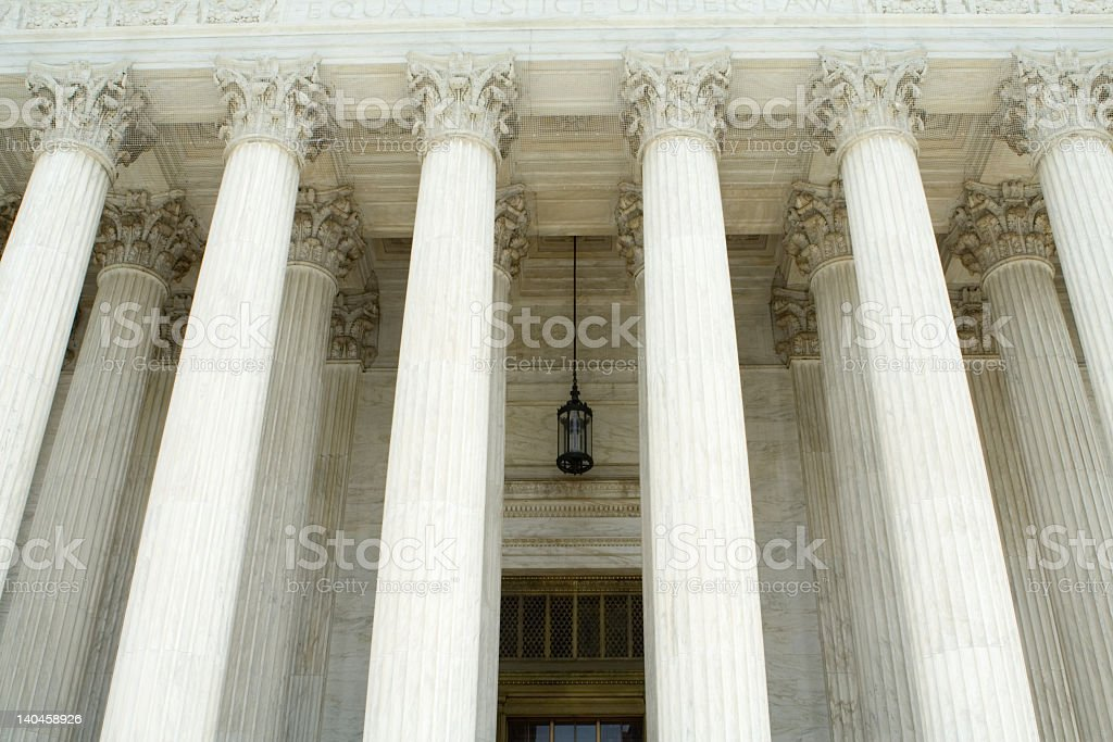 Neoclassical Facade of the Supreme Court in Washington, DC stock photo