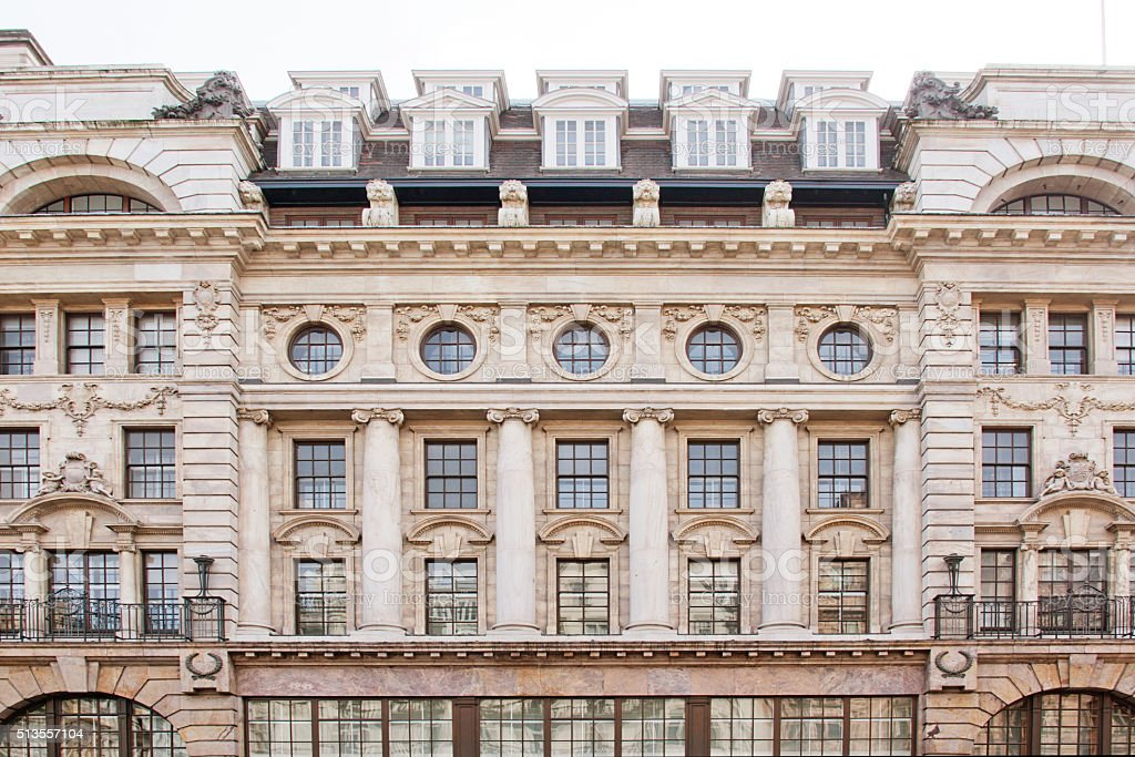 Neoclassical Old English Stonework Facade in London stock photo