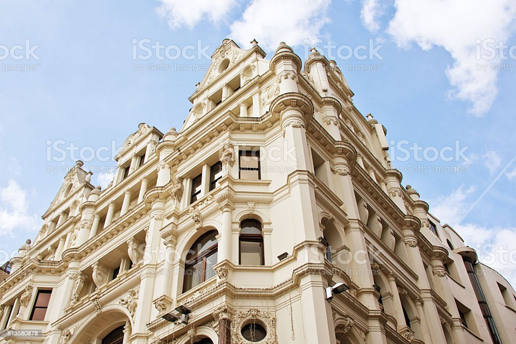 Neoclassical Old English Stonework Facade, Piccadilly Circus, London stock photo