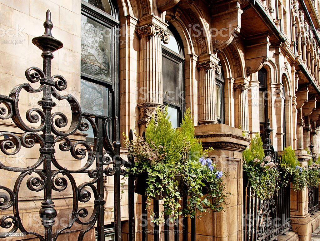 Neoclassical Old English Stonework Facade with Sculpture Pediments on London stock photo
