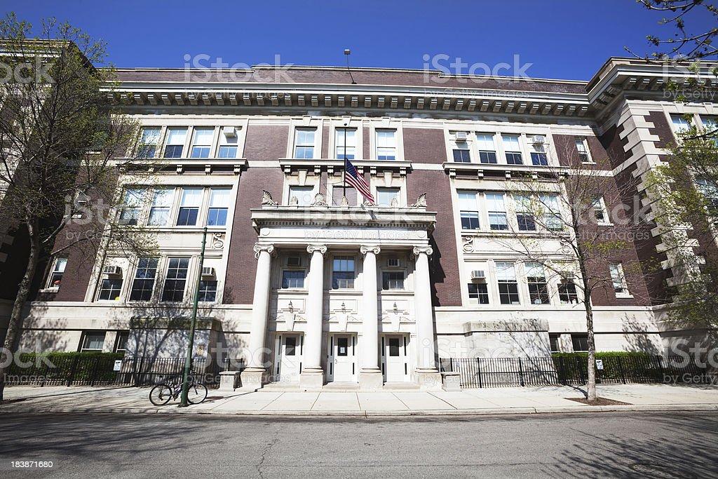 'Neoclassical School Facade in North Center, Chicago' stock photo