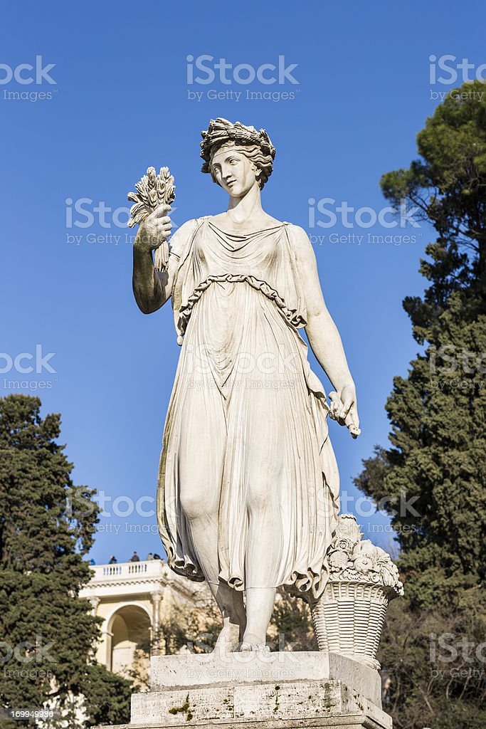 Neo-Classical sculpture of a women, Rome Italy royalty-free stock photo