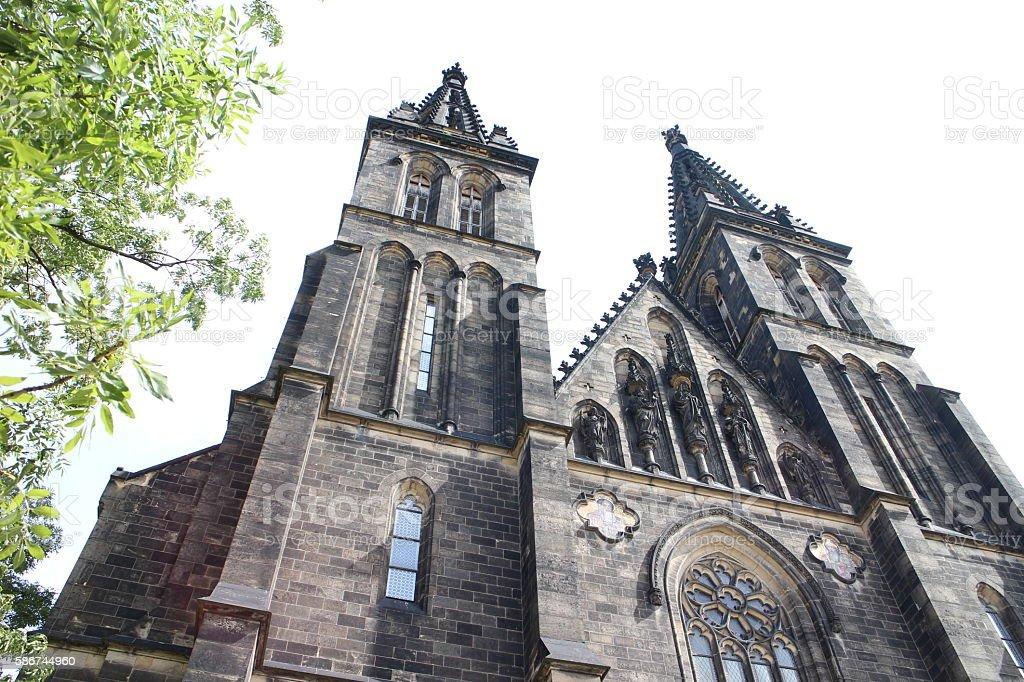 Neo-gothic church architecture stock photo