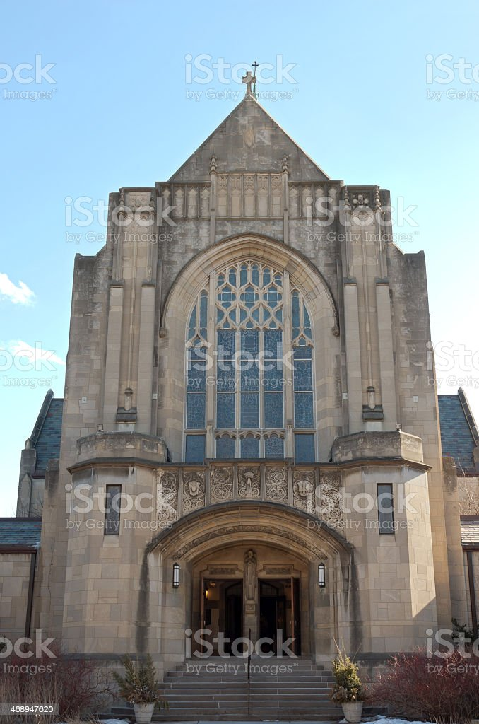 Neogothic Church Entrance in Saint Paul stock photo