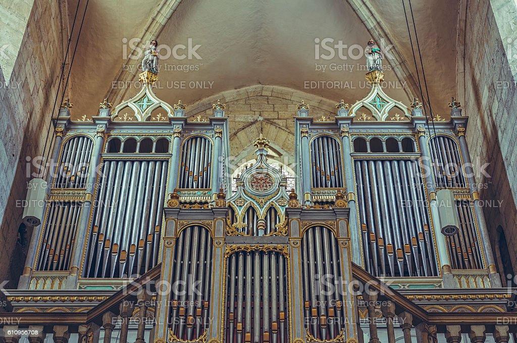 Neogothic organ in Saint Michael Cathedral, Alba Iulia, Romania stock photo
