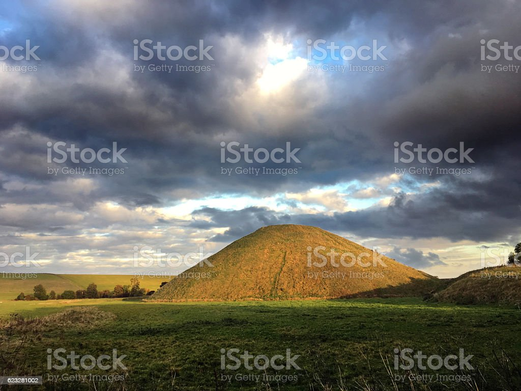 Neolithic Silbury Hill near Avebury, Wiltshire, UK stock photo