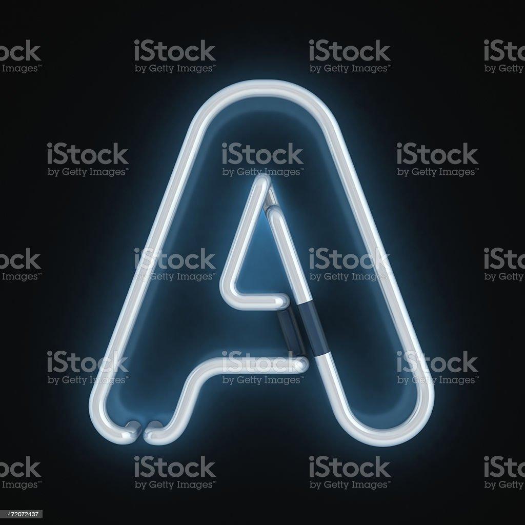 neon 3d font letter A stock photo