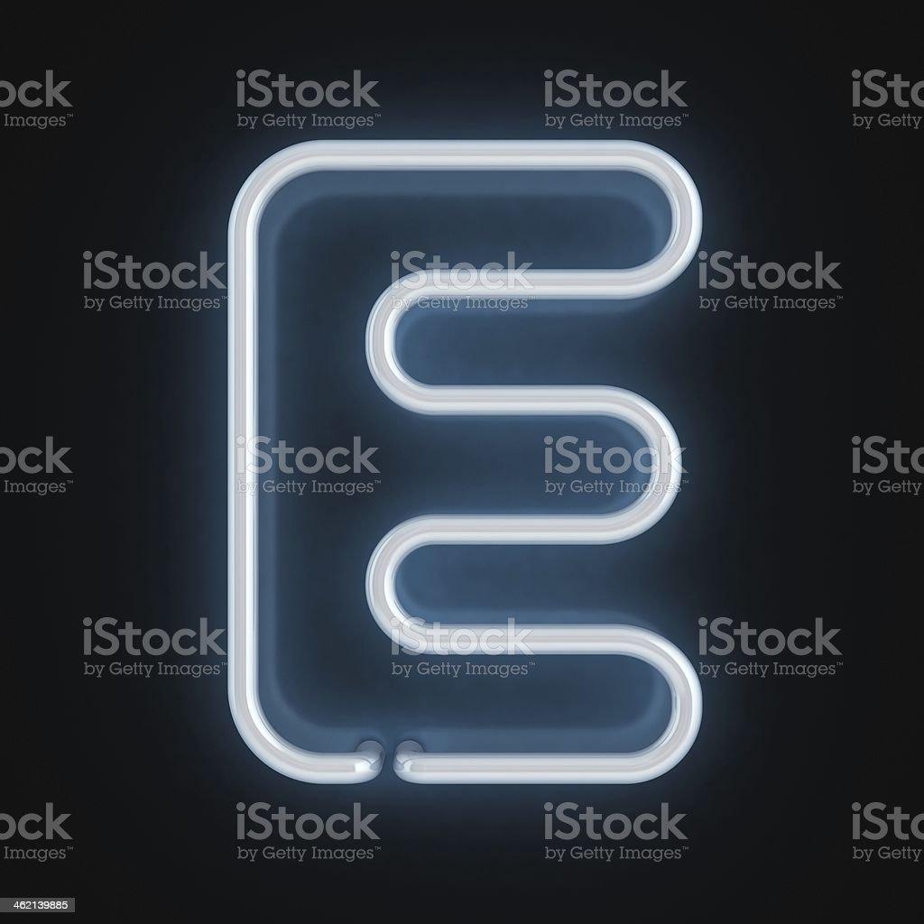 neon 3d font letter E stock photo