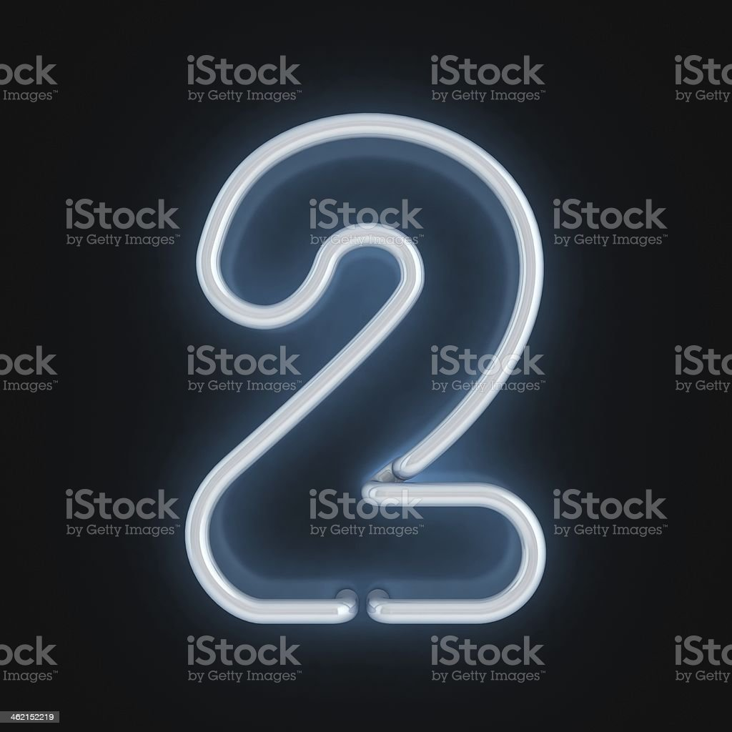 neon 3d font number 2 stock photo