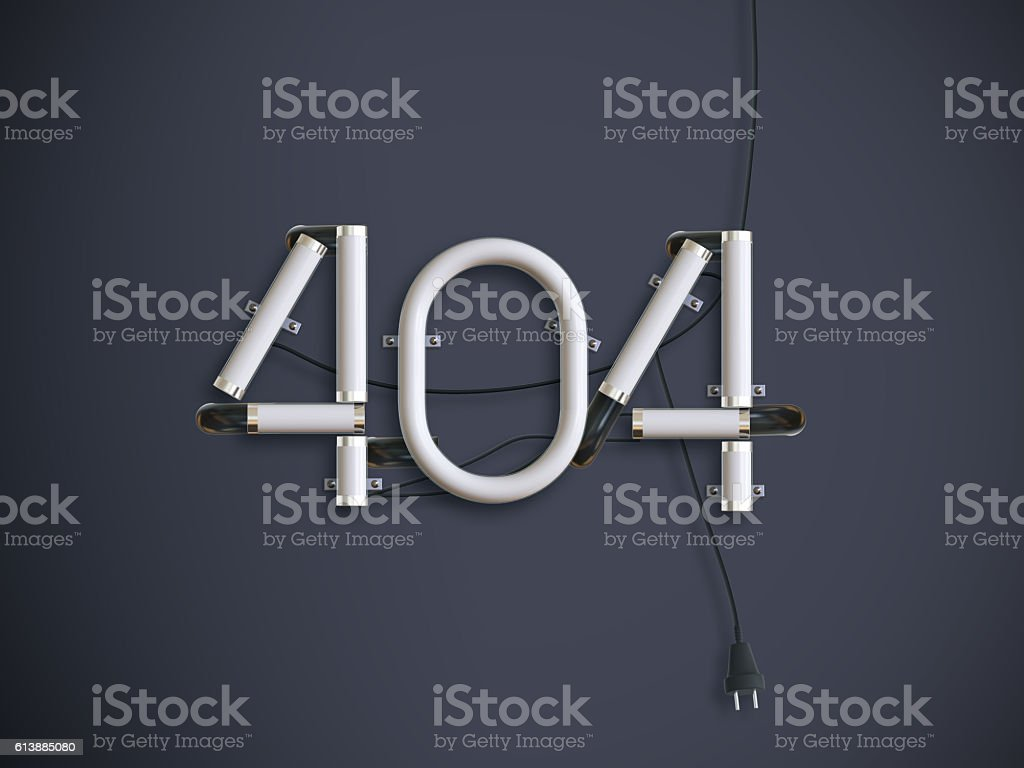 neon 404 Error Page 3d illustration with copy space stock photo