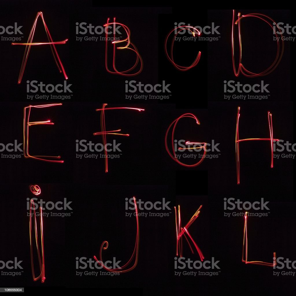 Neon ABC on the black background royalty-free stock photo