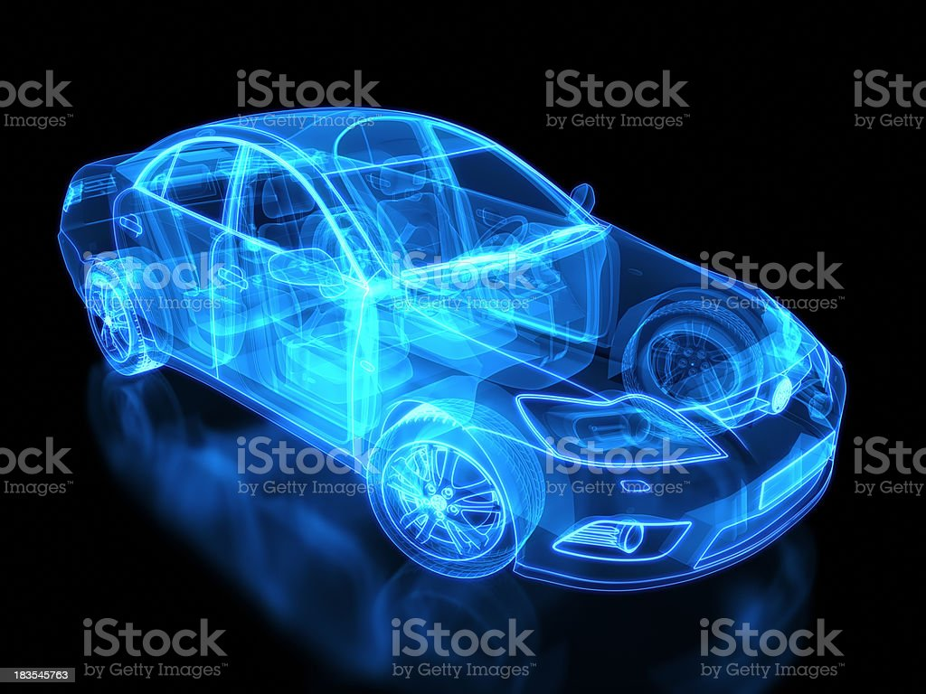 Neon anatomy of an automobile on black background stock photo