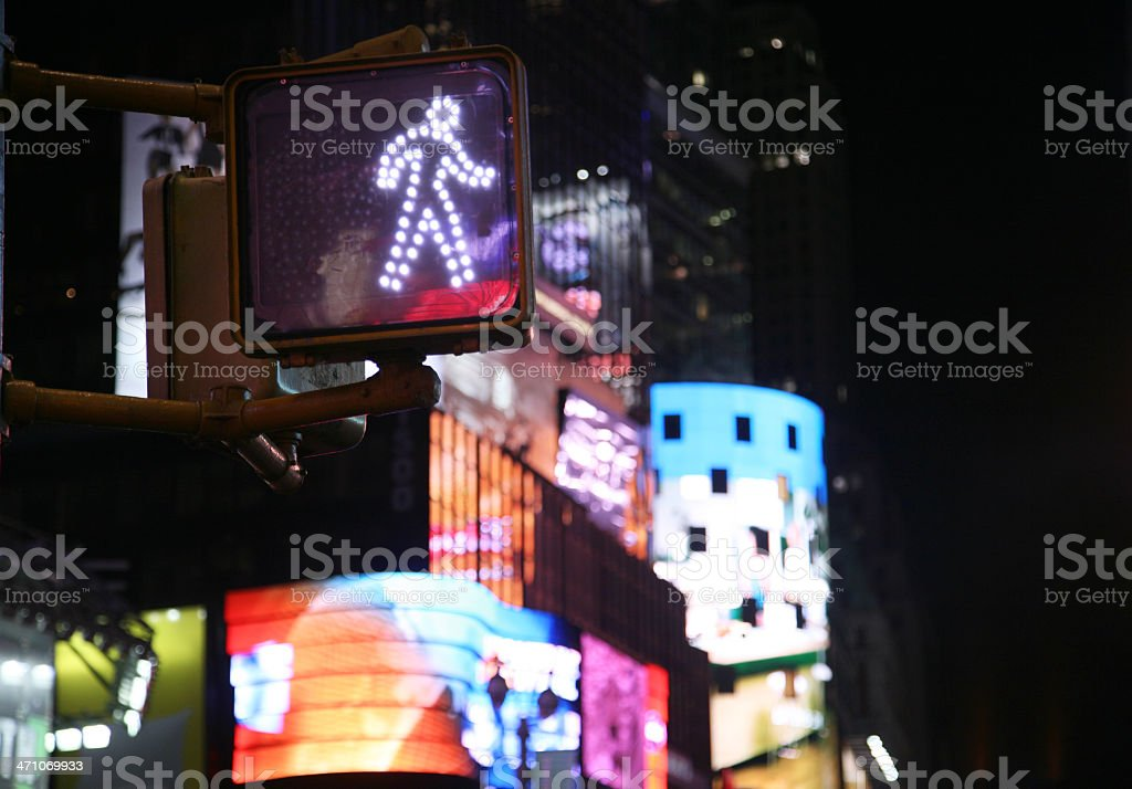Neon and Traffic Lights at Night royalty-free stock photo