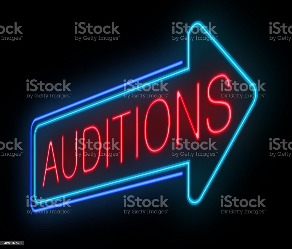 Neon auditions sign. stock photo