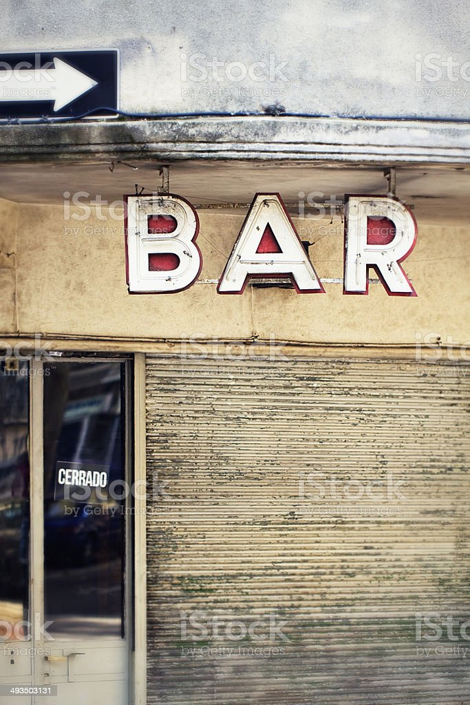Neon bar sign vintage style font type design stock photo