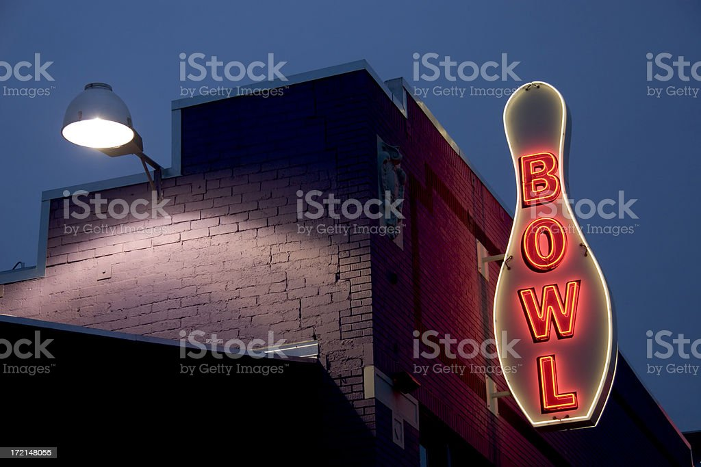 Neon Bowling Sign royalty-free stock photo