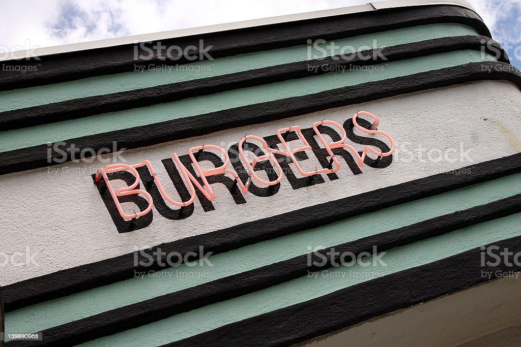 Neon Burger Sign royalty-free stock photo