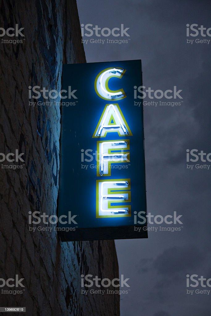 Al neon Cafe foto stock royalty-free