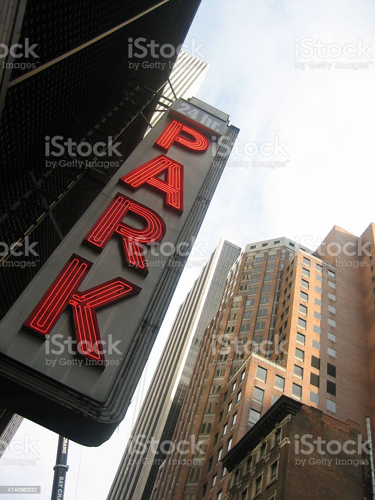 Neon car park sign stock photo