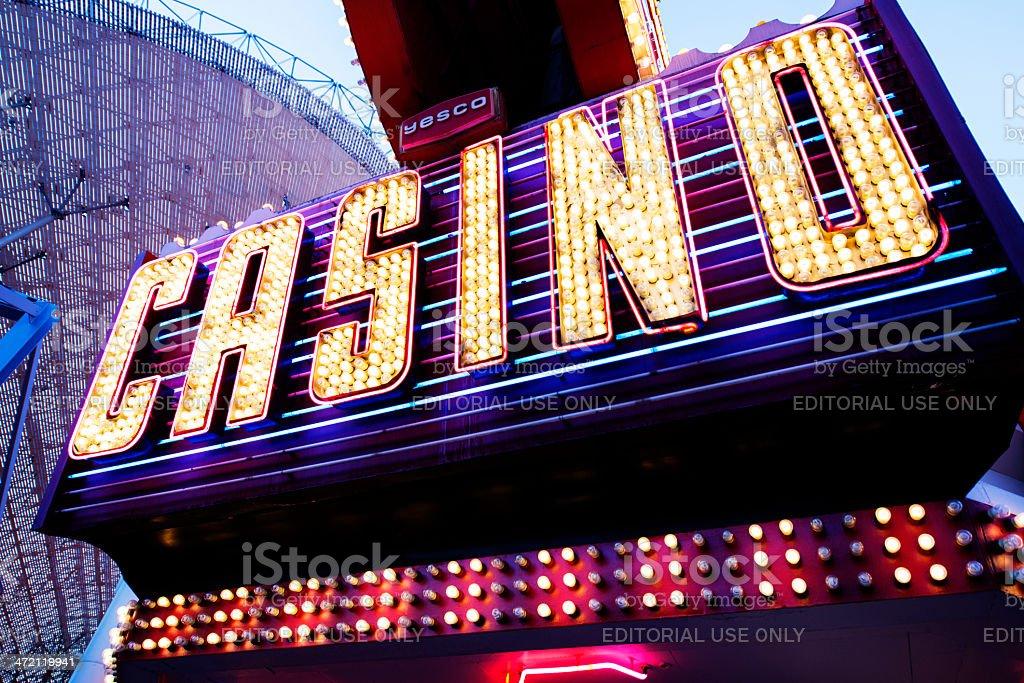 Neon Casino Sign in Downtown Las Vegas Nevada Travel Destination stock photo