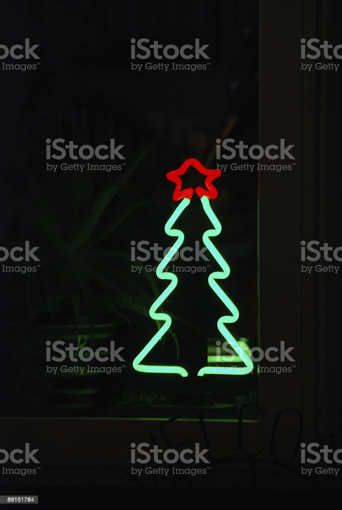 Neon Christmas tree with red star royalty-free stock photo