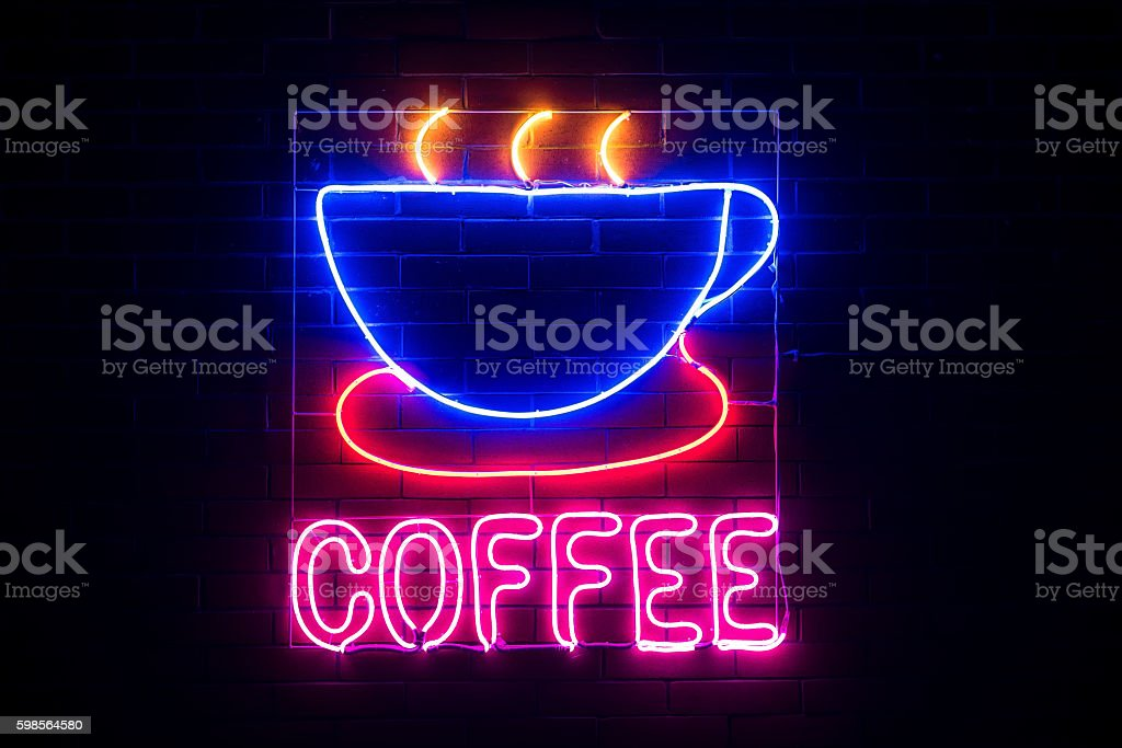 Neon coffee shop sign stock photo