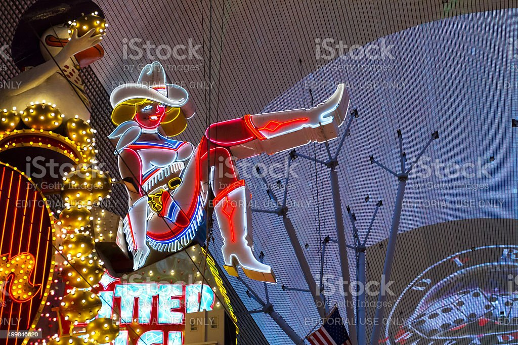 Neon Cowgirl In Las Vegas stock photo