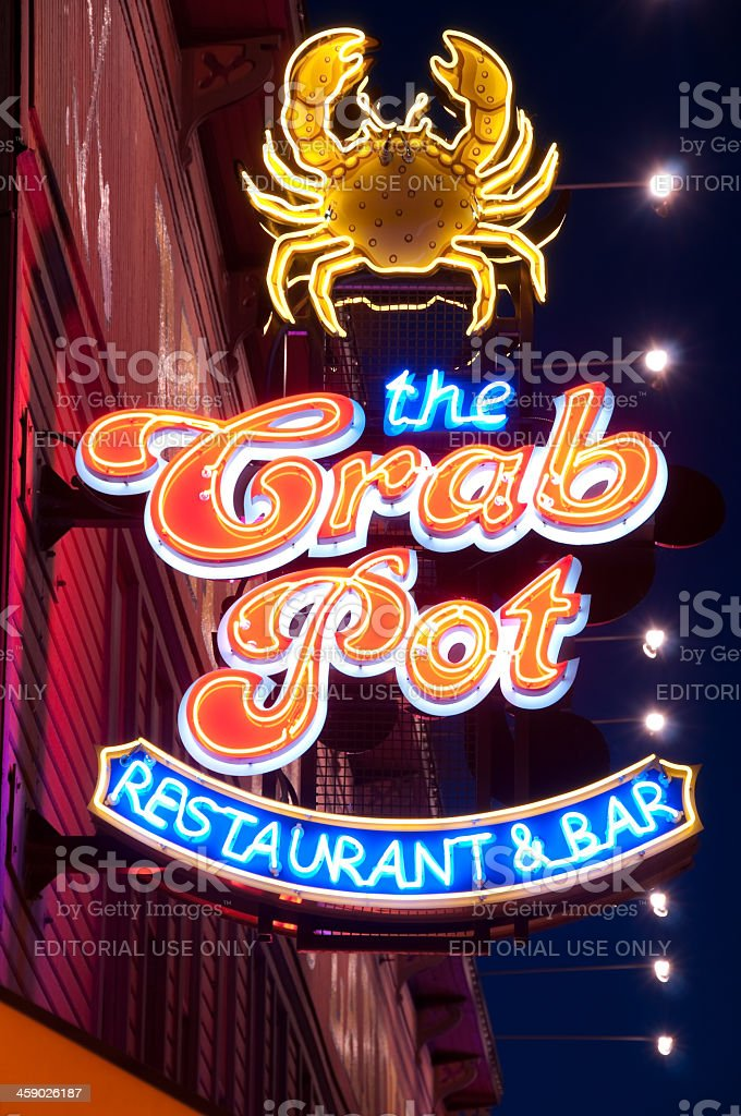 Neon Crab Pot sign Pier 57 royalty-free stock photo