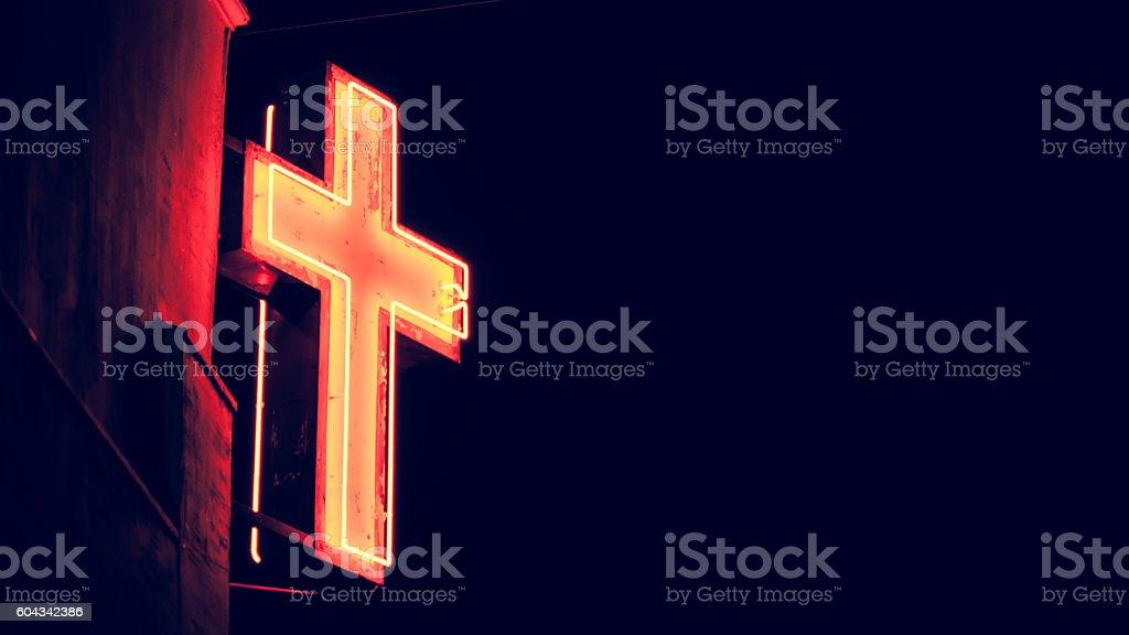 Neon cross stock photo