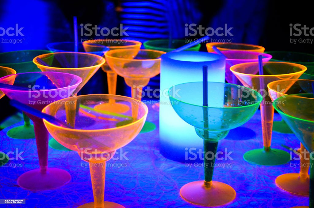Neon Disco Glow Party Cocktails stock photo