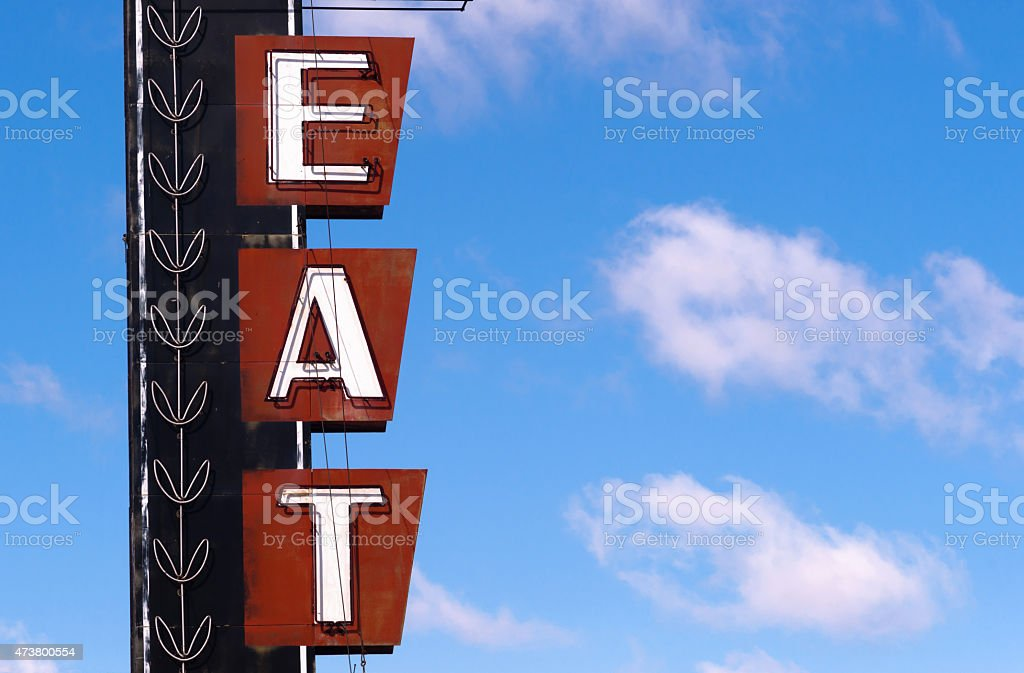 Neon Eat Sign Advertising Food Route 66 Retro Signboard vector art illustration