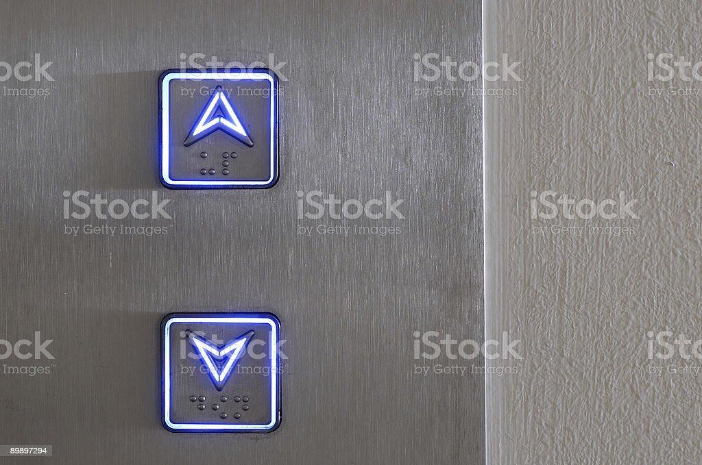 Neon elevator controls stock photo
