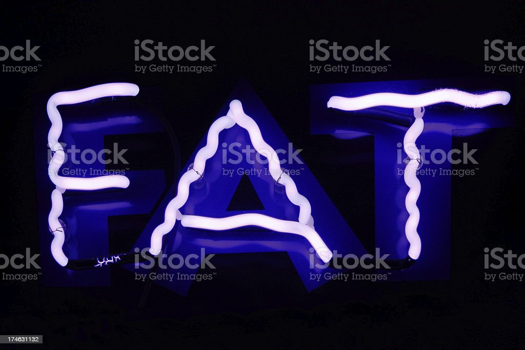 Neon Fat Sign Obesity Diet stock photo