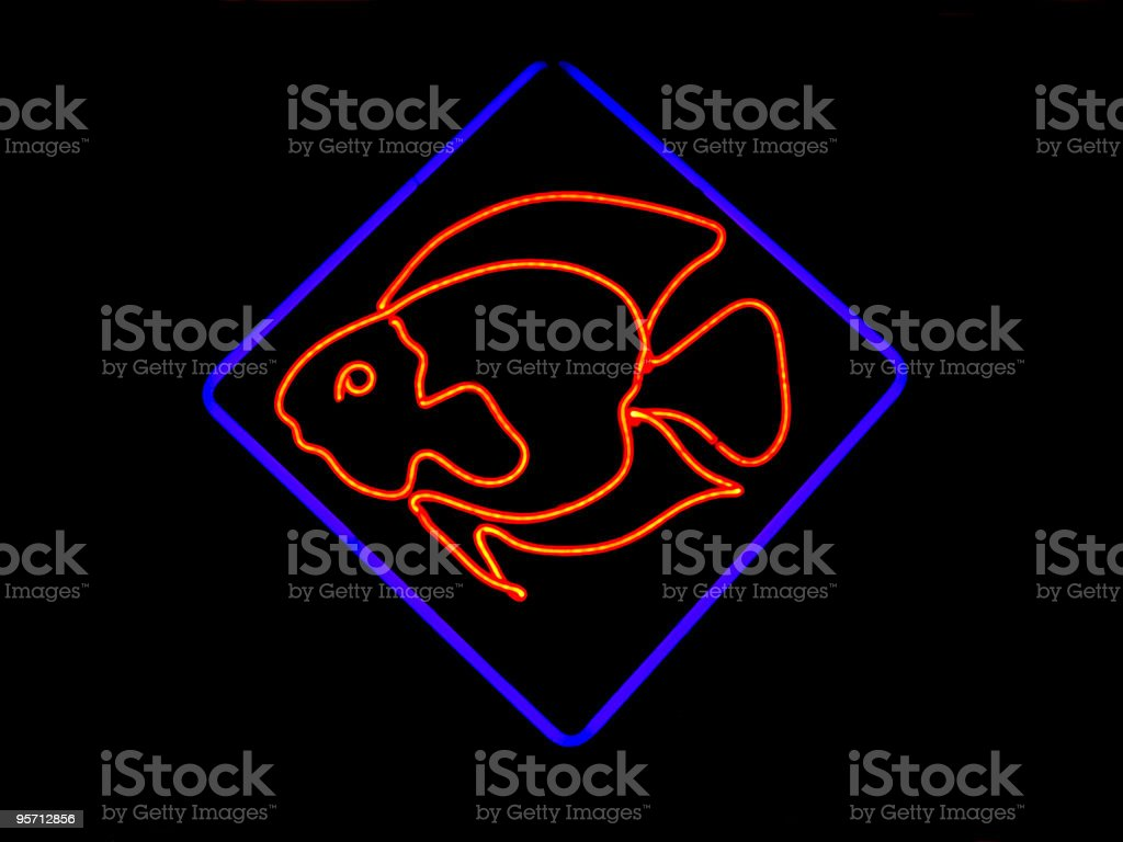 Neon Fish Shaped Sign stock photo