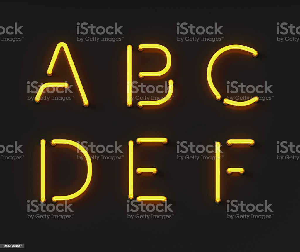 Neon Font stock photo