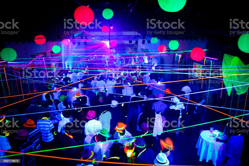 Neon Glow Blacklight Disco Party Night stock photo